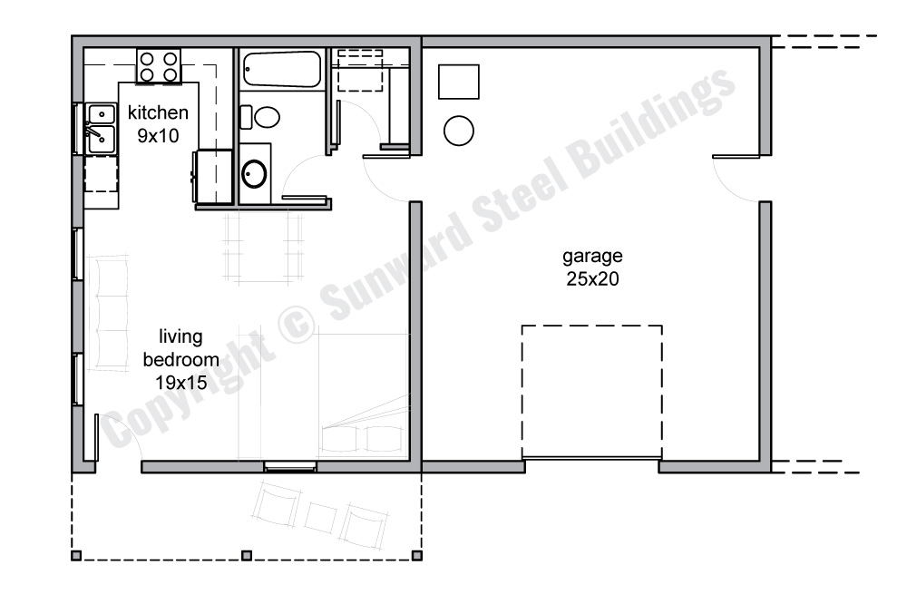 Studio Barndominium Floor Plan