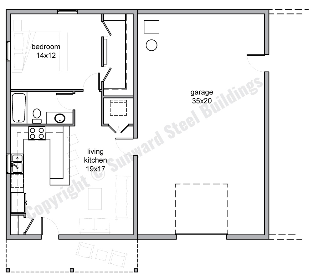 Barndominium Floor Plans | 1, 2 or 3 Bedroom Barn Home Plans on 1200 square feet home, 1200 square feet 3 bedroom house plans, two bedroom 2 bath house plans,