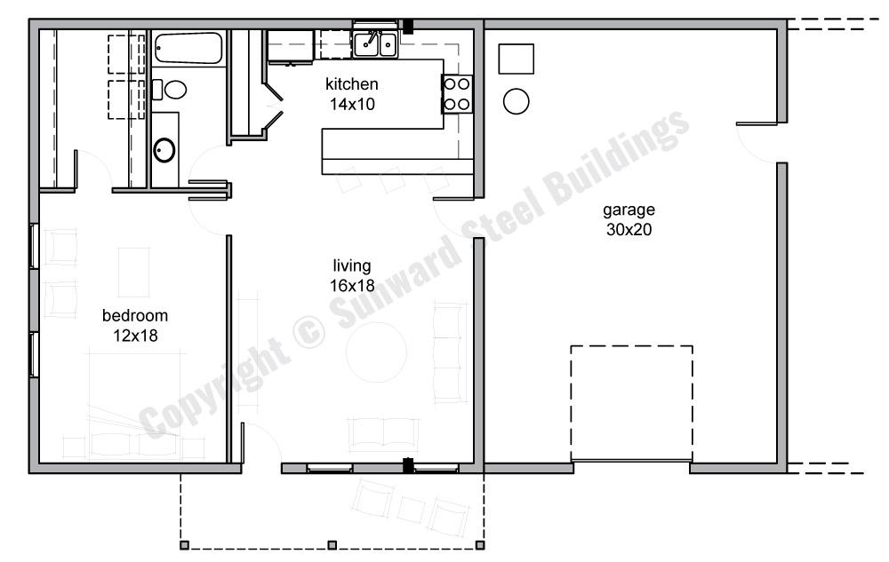 30x50 Barndominium Floor Plan
