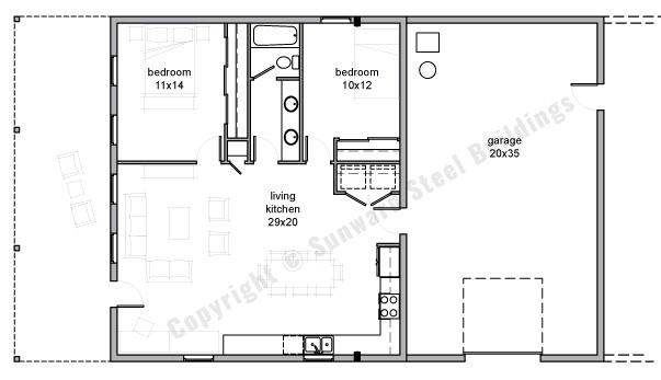 Barndominium Floor Plans | 1, 2 or 3 Bedroom Barn Home Plans on 2 bedroom 800 square foot house plans, 2 bedroom house floor plans, cute 2 bedroom home plans, 1 1 2 story house plans, 1 bed house plans, 2 bedroom 2 story house plans, 3 bed house plans, bed 2 bath floor plans, 2 bedroom ranch house plans, best 2 bedroom house plans, 2 room house plans, 2 level house plans, 1 2 bath plans, 2 bed 2 bathrooms, 2 bedroom cottage house plans,