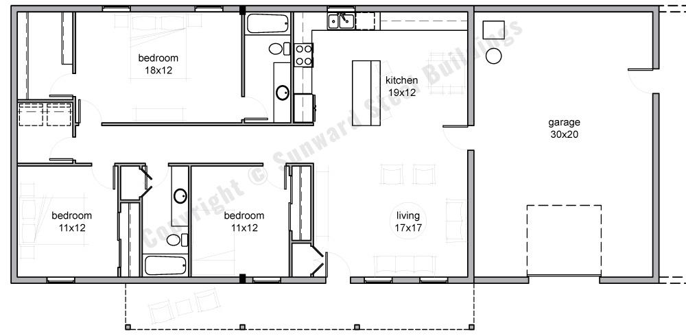 Barndominium Floor Plans | 1, 2 or 3 Bedroom Barn Home Plans