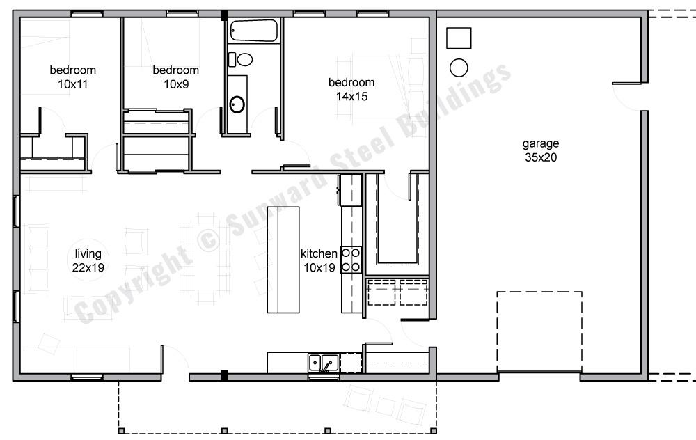 35x60 Barndominium Floor Plan