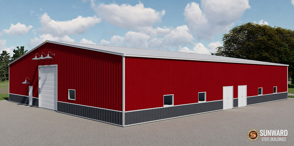 Steel Barn Building 3D Rendering