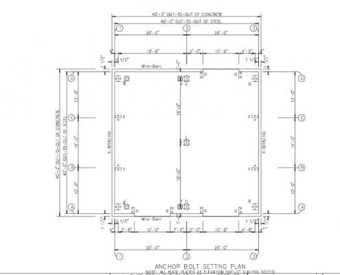40x40 Building Anchor Bolt Plans