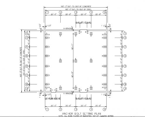 100x100 Anchor Bolt Plan
